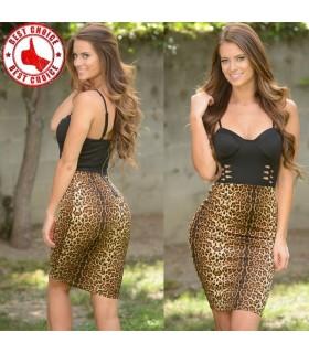 Spaghettibügel schwarz Bustier Leopardenmuster Midi Kleid