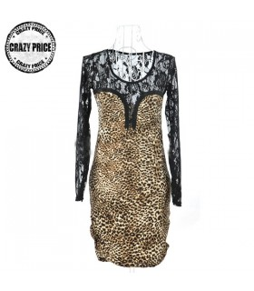 Long sleeves lace animal print dress