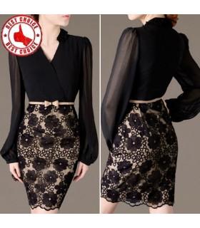 Chiffon und Spitze schwarz figurbetontes Kleid