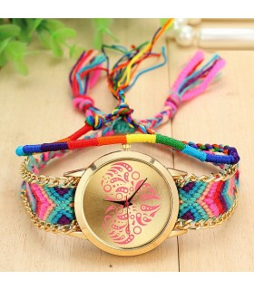 Colored handmade braided quartz watch