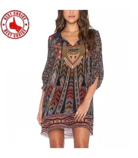 Barock bunten geometrischen Print Kleid
