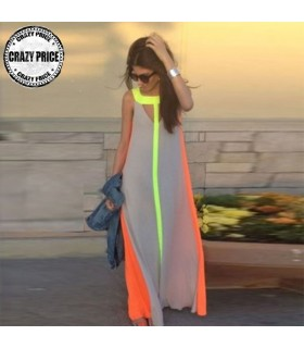 Transparent long chiffon neon dress