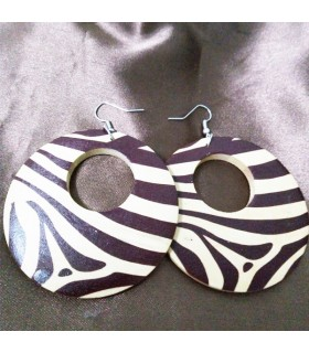 Wood animal print circle earrings