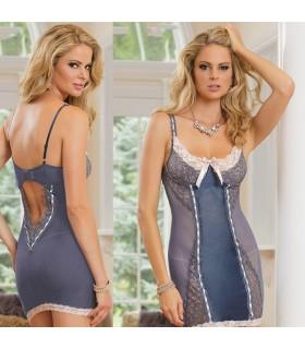 Azure blue sexy lingerie nightwear