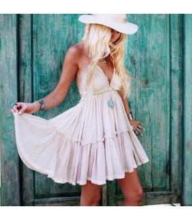 Hochwertige halter neck backless gepunkteten Kleid
