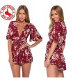 Red V-neck flowy short overall