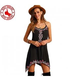 Lässig schwarz bestickt Boho Kleid