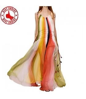 Satin-Kleid mit handgenähten Federn
