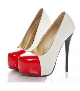 Moda bianco e rosso scarpe tacco alto