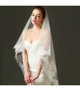 Voile de mariée en organza avec de la dentelle