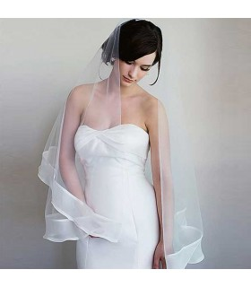 Beautiful natural chiffon silk wedding veil