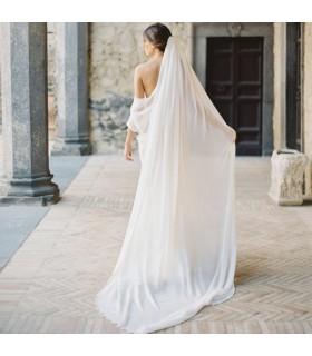 Chiffon bianco velo da sposa lungo