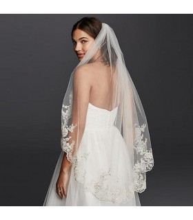 Real silk wedding veil embellished with lace