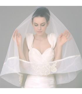 Morbida seta pizzo naturale velo da sposa impreziosito