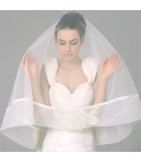 Soft silk natural lace embellished wedding veil