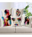 Five painted body women linen cover pillow
