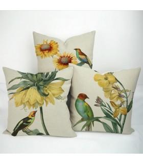 Tre fiori e uccelli lino stampato cuscino copertina