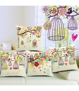 Four  birdcage cushion linen cover pillow