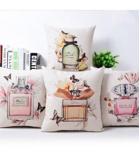 Quattro bottiglie di profumo cuscino copertina in lino