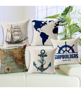 Five navigation sailboat anchor linen cover pillow