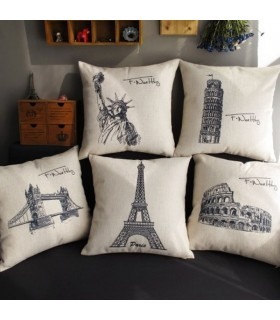 Five famous buildings decor linen cover pillow
