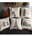Cinq bâtiments célèbres oreiller de couverture de toile de décor