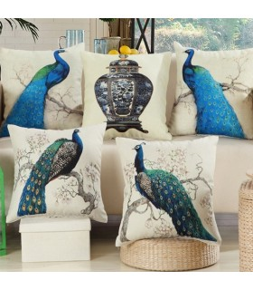 Five peacock cushion  linen cover pillow