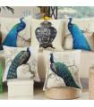Cinque pavone cuscino copertina in lino cuscino