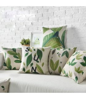 Green leaves linen five cover pillow