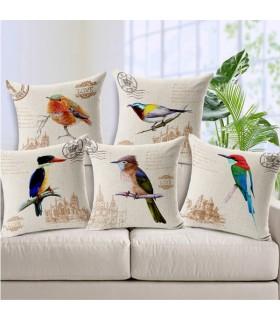 Uccelli d'epoca di tela cinque cuscino copertina