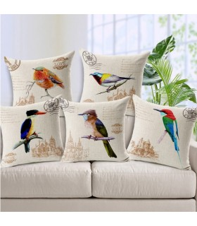 Vintage birds linen five cover pillow