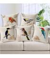 Vintage birds linen five cover pillow