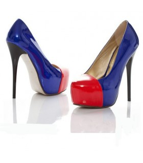 Fashion blue and red high heel shoes