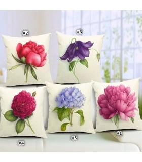 Lino Fiore di primavera cuscino cinque copertura