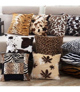 Plush animal print five pillow covers