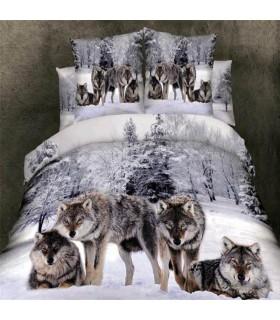 Fiocchi di neve e fogli lupo letto