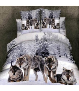 Snowflakes and wolf  Bed sheets