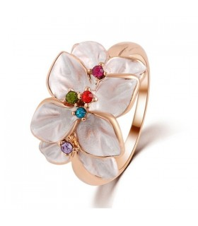 Colorful austrian crystal  leaves flower ring