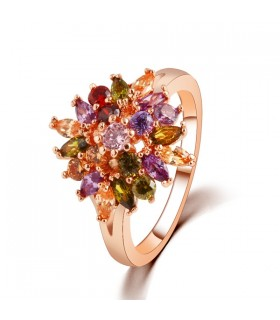 Plated gold luxury crystal colored ring