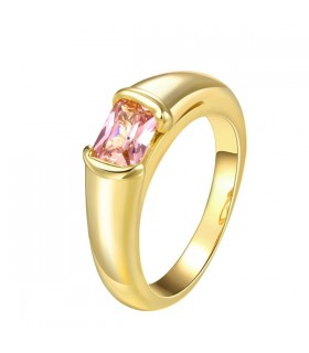 24K gold plated pink zircon Ring