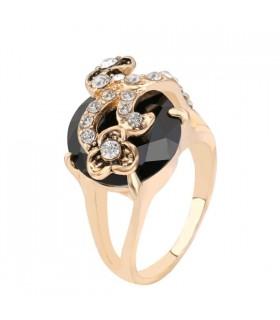 Pietre nere e oro di cristallo placcato l'anello romantico