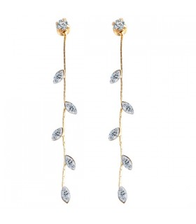 Leaf gold plated drop earrings