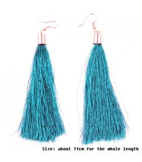 Blue ethnic style fabric tassel dangle earrings