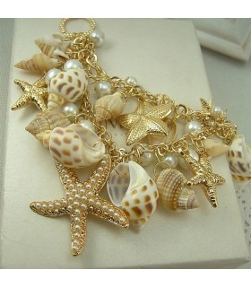 Shell starfish chunky collier naturel