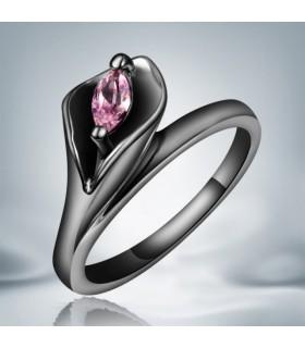 Cristal rose anneau noir