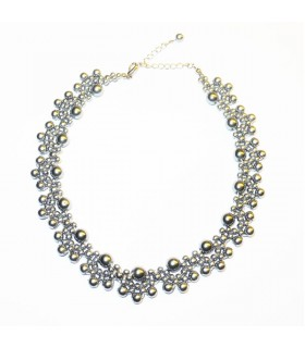 Silver pearls Baroque style necklace
