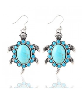 Cristal turquoise boucles d'oreilles de tortues Vintage
