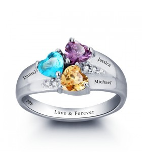 Personalized engraved heart stone 925 Sterling Silver family Name Ring