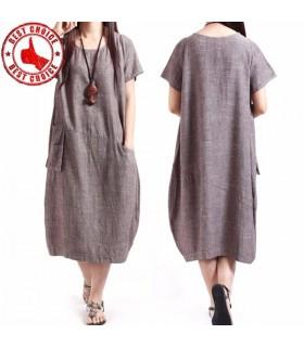 Linen loose short sleeve dress