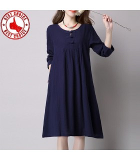 Cute dark blue linen dress